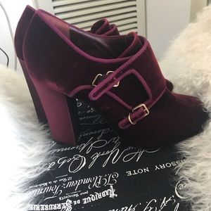 Burgundy velvet Tory Burch booties
